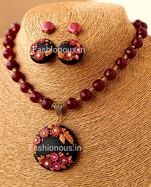 Black Maroon Floral Pendant with Semi Precious Beads and Earrings-ZAPCNS-047