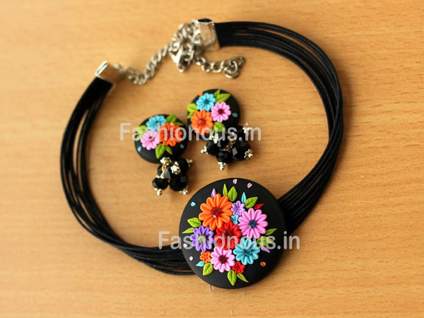 Black Muti Floral Choker and Earrings-ZAPCNS-041