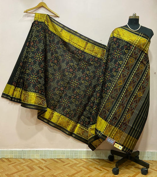 Black with Floral Designed Patola Silk Saree-PSS9006