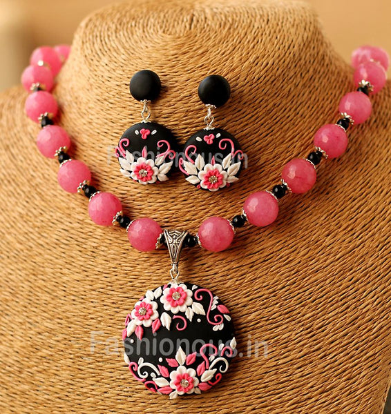 Black Pink Floral Pendant with Semi Precious Beads and Earrings-ZAPCNS-046