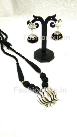 Black Silk Balls with Lotus Pendant Silk Thread Jewellery Set-STJSW-014