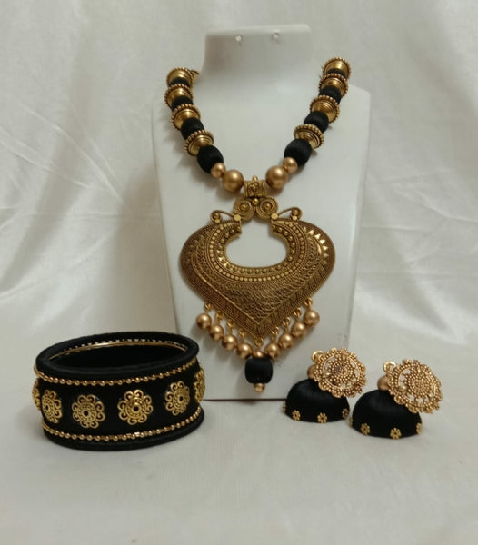 Black and Gold Silk Thread Jewellery Set