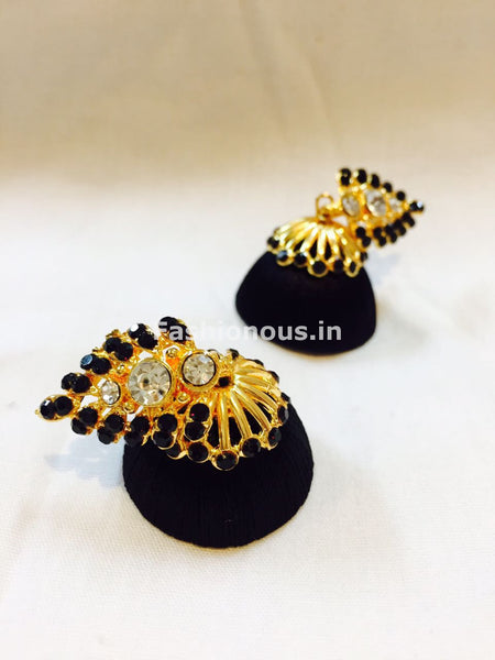 Black Stone Studded Leaf Silk Thread Jhumkas-STJH-031