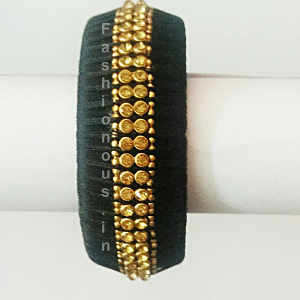 Black Stone Studded Single Bangle