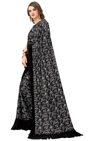 Synthetic Crepe Black Ruffle Printed Saree-RS023