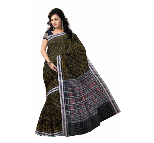 Black Traditional Designed Handloom Cotton Saree-OSS7315