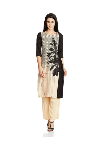 Black and Beige American Crepe Printed Kurti-KURTI-032