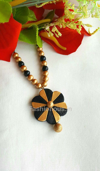 Black and Golden Floral Terracotta Necklace-TJS-035