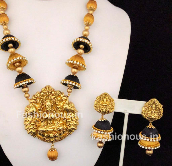 Black and Golden Silk Balls and Jhumka with Laxshmi Antique Pendant Silk Thread Jewellery Set-STJS-044