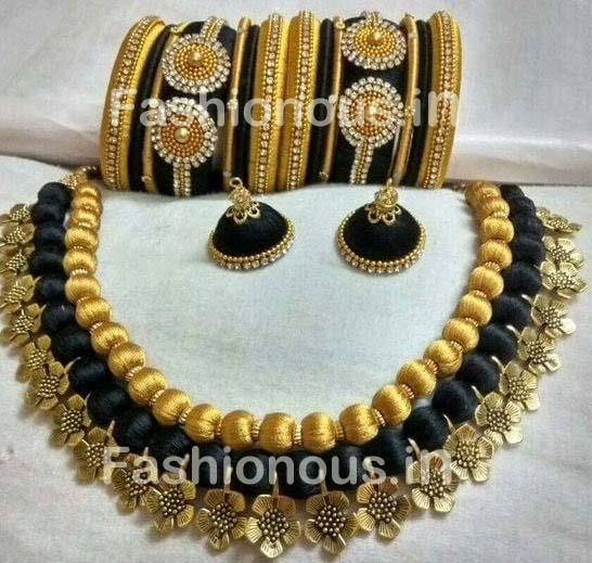 Black and Golden Silk Balls with Floral String Silk Thread Jewellery Set-STJS-054