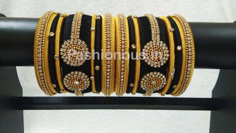 Black and Golden Silk Thread Bangle Set-STJSW-114