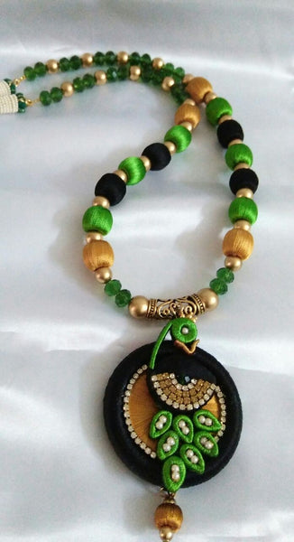 Black and Green Peacock Necklace