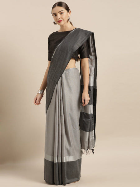 Black and Grey Attractive Big Border Angolla Linen Saree (Blend)
