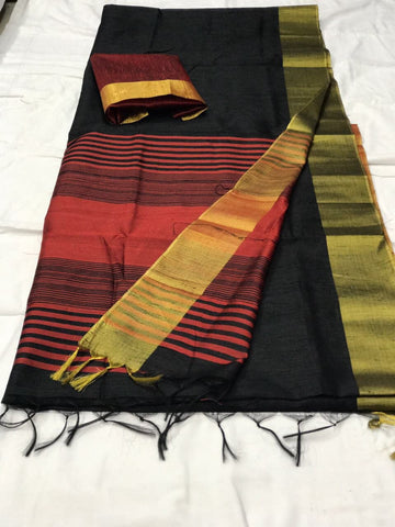Black and Maroon Pallu with Tassels Banarasi Silk Saree-SRE-271