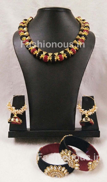 Black and Maroon Silk Thread Jewellery Set-STJSW-088