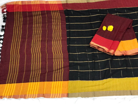 Black and Maroon with Beautiful Zari and Tassel Pallu South Cotton Saree-SRE-376