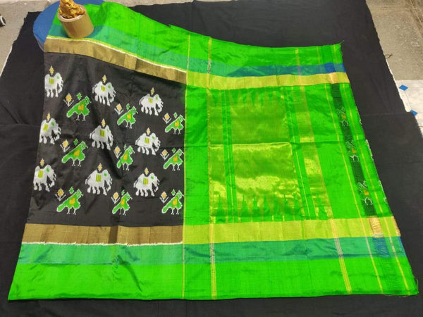 Black and Parrot Green Pure Ikkat Silk Saree