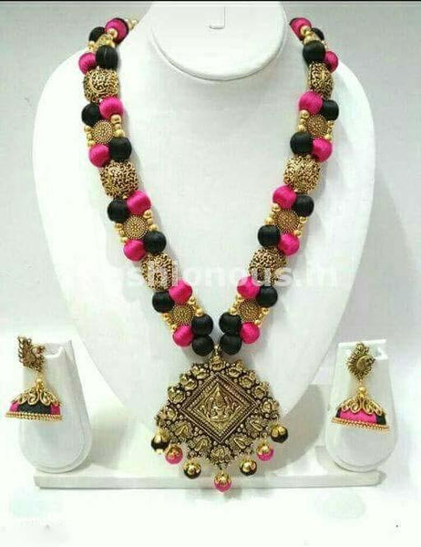 Black and Pink Silk Balls with Rhombus Antique Pendant Silk Thread Jewellery Set-STJS-048