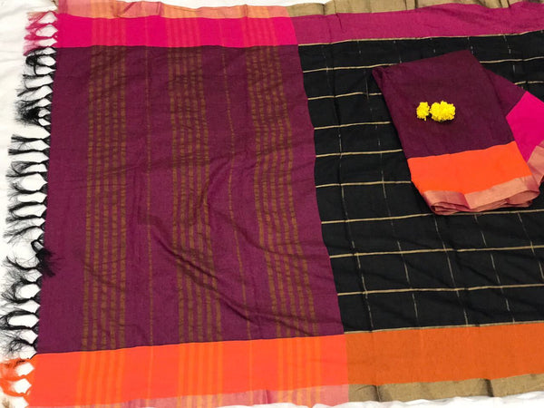 Black and Pink with Beautiful Zari and Tassel Pallu South Cotton Saree-SRE-380