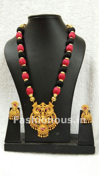 Black and Red Balls with Lakhsmi Pendant Silk Thread Jewellery Set-STJS-029