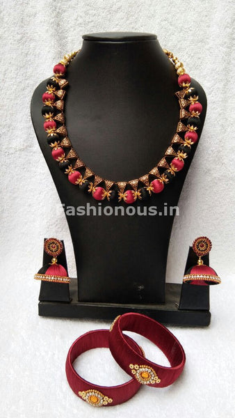 Black and Red Silk Thread Jewellery Set-STJS-021