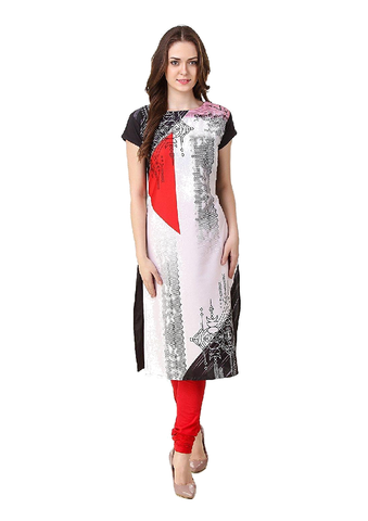 Black and White American Crepe Printed Kurti-KURTI-034