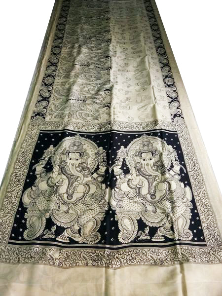 Black and White Kalamkari Hand Painted Chennur Silk Saree-KPCHS-039