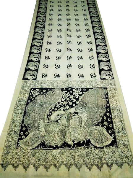 Monochrome Peacock Duo Hand-Painted Chennur Silk Kalamkari Saree