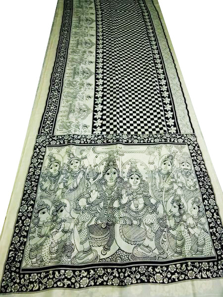 Monochrome Oriental Radha-Krishna Hand-Painted on Chennur Silk Kalamkari Saree
