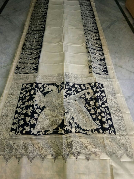 Black and White Kalamkari Printed Chennur Silk Saree-KPCHS-063