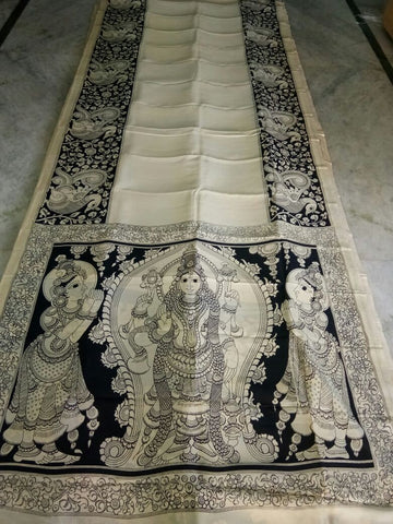 Black and White Kalamkari Printed Chennur Silk Saree-KPCHS-065