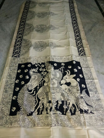 Black and White Kalamkari Printed Chennur Silk Saree-KPCHS-066