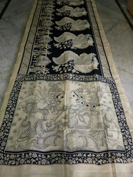 Black and White Kalamkari Printed Chennur Silk Saree-KPCHS-067