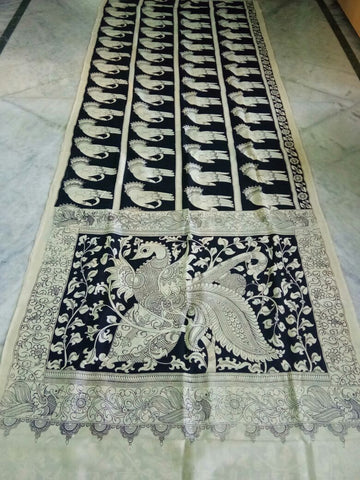 Black and White Kalamkari Printed Chennur Silk Saree-KPCHS-070