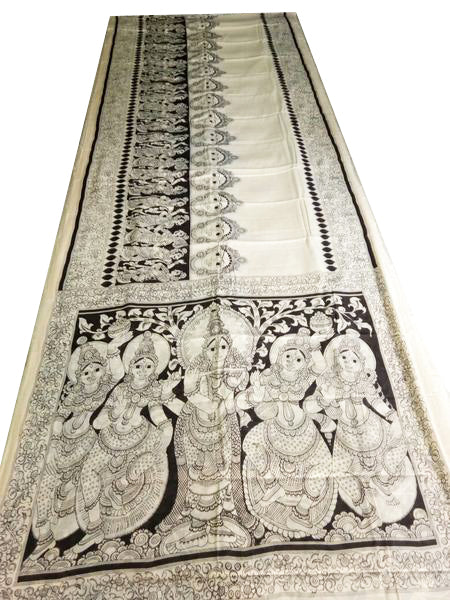 Black and White Kalamkari Hand Painted Mul-Mul Cotton Saree-KPMCS-036