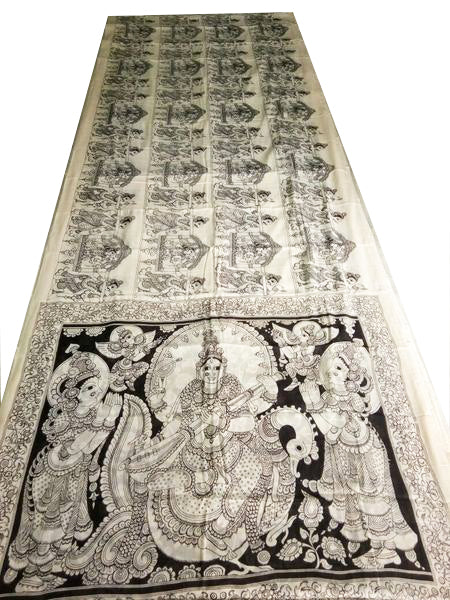 Monochrome Ornate Saraswati Hand-Painted Mal-Mal Cotton Kalamkari Saree
