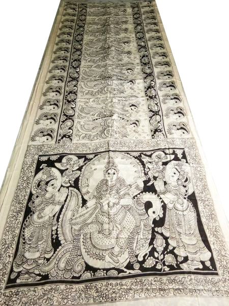Monochrome Saraswati Hand-Painted Mal-Mal Cotton Kalamkari Saree