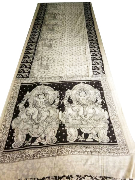 Monochrome Ganesha Hand-Painted Ethnic Mal-Mal Cotton Kalamkari Saree