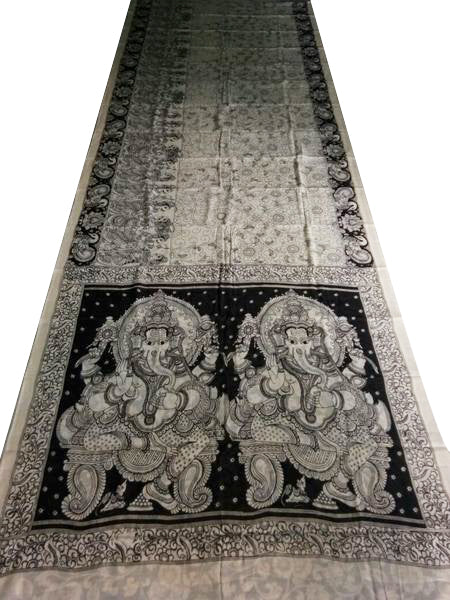 Monochrome Lord Ganesha Hand-Painted Mal-Mal Cotton Kalamkari Saree