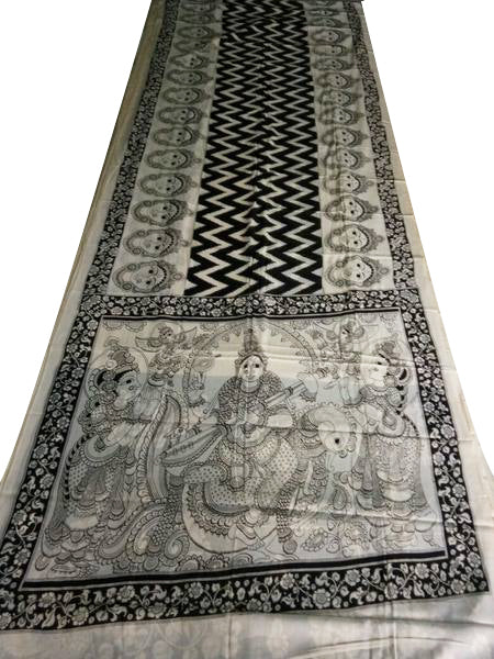 Monochrome Goddess Saraswati Kalamkaari Hand-Painted Mal-Mal Cotton Saree