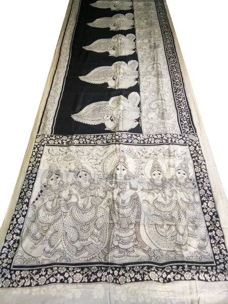 Black and White Kalamkari Hand Painted Mul-Mul Cotton Saree-KPMCS-043