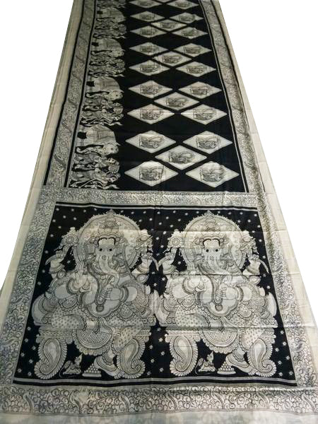 Monochrome Ganesh Hand-Painted Mal-Mal Cotton Kalamkari Saree