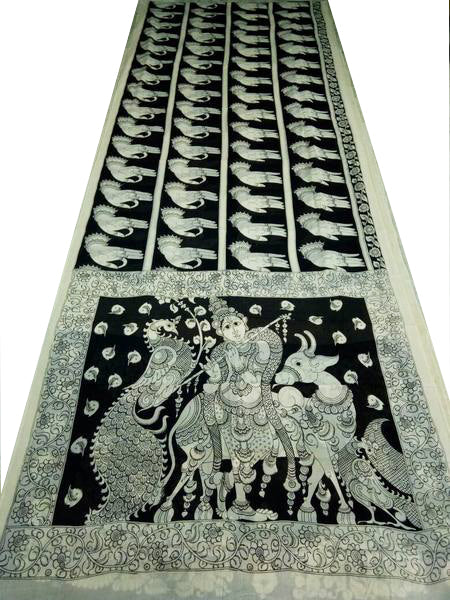 Monochrome Krishna Playing Flute Hand-Painted Mal-Mal Cotton Kalamkari Saree