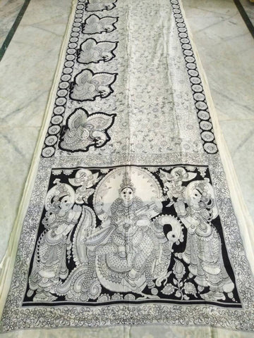 Black and White Kalamkari Printed Mal Cotton Saree-KPMCS-050