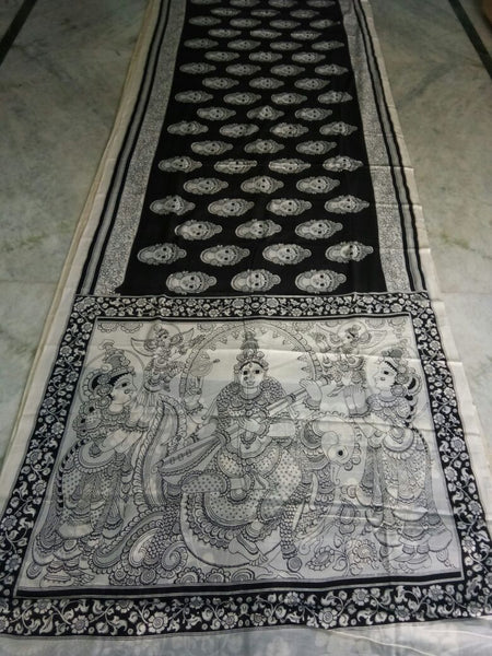 Black and White Kalamkari Printed Mal Cotton Saree-KPMCS-053