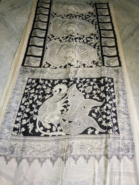 Black and White Kalamkari Printed Mal Cotton Saree-KPMCS-054