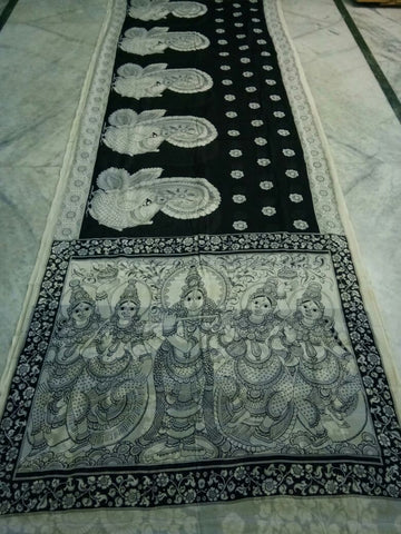 Black and White Kalamkari Printed Mal Cotton Saree-KPMCS-056
