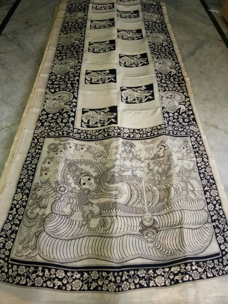 Black and White Kalamkari Printed Mal Cotton Saree-KPMCS-057