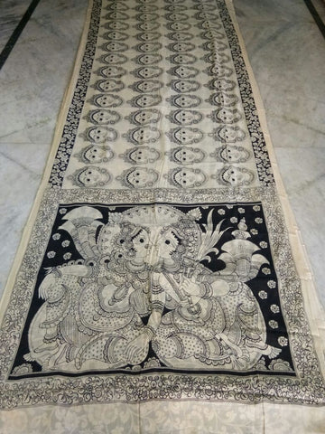 Black and White Kalamkari Printed Mal Cotton Saree-KPMCS-059