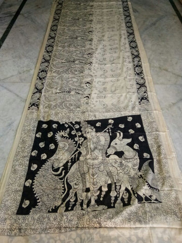 Black and White Kalamkari Printed Mal Cotton Saree-KPMCS-061